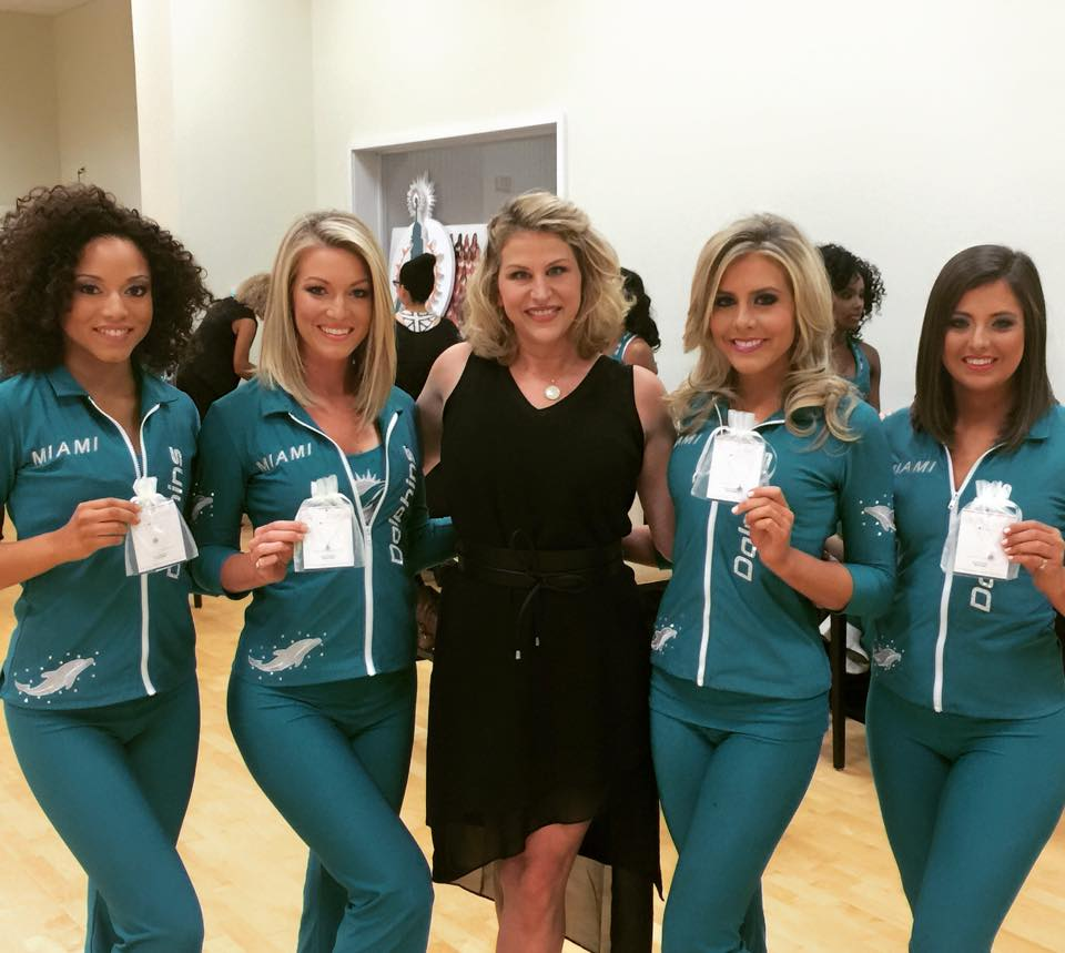 Holly with the Dolphins Cheerleaders