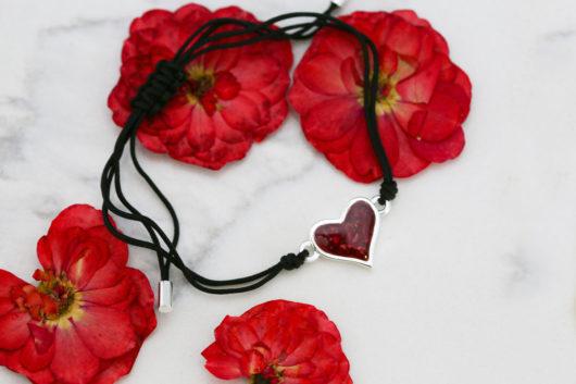 black cord heart bracelet